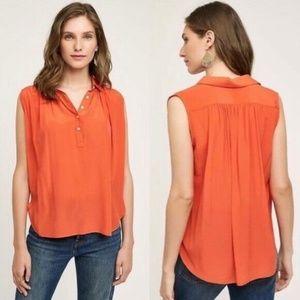 Anthropologie Maeve Orange 100% Silk Haddie Blouse